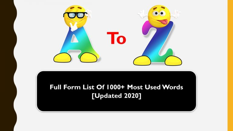 Full Form List of 1000+ Most Used Words
